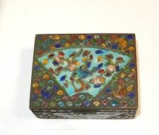 OLD CHINESE CLOISONNE REPOUSSE ENAMEL FAN DESIGN HUMIDOR JAR BOX