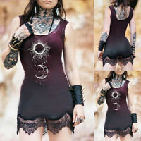 Women Lace Mini Dress Bodycon Strap Gradient Party Punk Gothic Sundress Clubwear