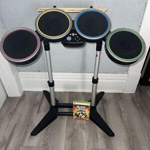 ROCK BAND Drum Set Harmonix XBOX 360 XBDMS2 Drum Sticks Guitar Hero World Tour