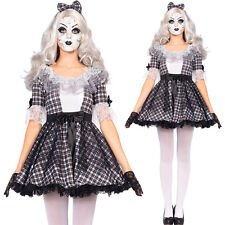 New Ladies Womens Adults Broken Doll Costume Halloween Fancy Dress Outfit