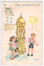 CPA illustrateur Jansen - Noyons nos chagrins d'amour - Fontaine, enfants