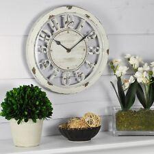 Distressed White Wall Clock Rustic Home Decor Beach Coastal Design Hanging New