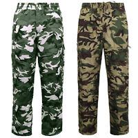 Men's Camouflage Cargo Work Trouser Thermal Fleece Lined Zip Pocket Pants M-2XL