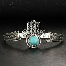 New Boho Tibetan Silver Turquoise Hand of Fatima Charm Bracelet Bangle Jewellery