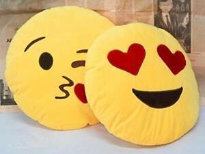 Smiley Emoji Pillow Cushion Soft Toys- 35 cm (Heart Eye & Flying Kiss)