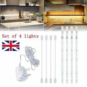 4X LED Strip Lights Under Cabinet Kitchen Cupboard Shelf Warm White Linkable UK