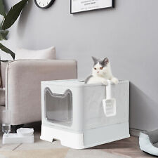 More details for cat litter box pet toilet tray with scoop enclosed drawer skylight door smelless