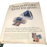 Vintage 2000 Apple Macintosh iMac Epson  28 x 22 Rolled Poster Spend Less Green