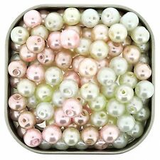 """Glass Pearls Round Beads 8mm """"Barely Pink"""" Mix 100PCS (GPRD08M-BPK)"""