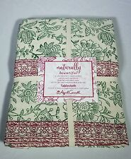 NEW April Cornell Naturally Beautiful Christmas Floral Tablecloth SZ 60x104""