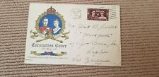 RARE Unusual 1937 Coronation illustrated FDC  - to New Zealand