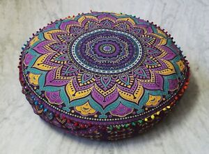 """Multi Indien 35"""" Round Floor Cushion Mandala Cotton Pouf Seating Cover Pet Bed"""