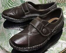 EARTH ORIGINS BROWN GRAY LEATHER LOAFERS SLIP ONS DRESS SHOES US WOMENS SZ 9 W