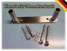 Doppelte Konsole für 14 mm Rundstahl - Edelstahl Halterung V2A INOX Nirosta