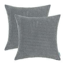 Set of 2 Grey Cushion Covers Pillows Cases Corduroy Corn Striped Decor 60 X 60cm