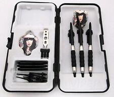 Black Tattoo Lady Standard Rubberized Sure Grip Soft Tip Dart Set + Case 18g - 1