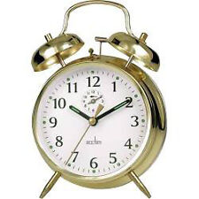 Saxon Large Double Bell Alarm Bedroom Clock Brass High Quality