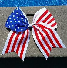"Red, White & Blue 4th of July USA Flag CHEER BOW Huge Big 8"" American patriotic"