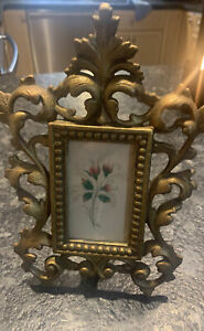ANTIQUE GOLD-GILT CAST IRON PICTURE FRAME w/ EASEL STAND IRON ART JM54