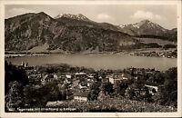 Tegernsee alte  Postkarte und Stempel 1938 Panorama mit Hirschberg und Kampen