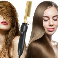 US Electric Straightener Brush Beard/Hair Comb,Curling Iron Hot Hair Flat Tools