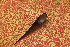 Paste the Wall, Indian / Asian Inspired Damask Wallpaper in Red & Gold