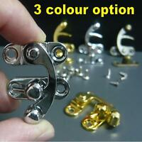 LOCK CLASP HOOK JEWELLERY BOX LATCH CATCH TRINKET Swing clasps w screws & rivets