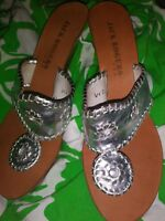 Jack Rogers Silver  Wedge Backless Heels  Womens  Size 7 M