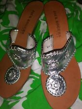c60d961855be Jack Rogers Silver Wedge Backless Heels Womens Size ...