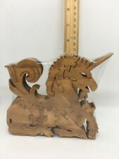 Unicorn Sitting Scroll Saw Puzzle - Handmade -10 Pieces - Stained