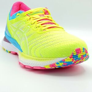 WOMENS ASICS  GEL NINBUS 22;SZ 9 MDIUM 1012A802 RUNNING SHOES YELLOW  PRE OWNED