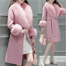Big Fur Collar Women Party Coat Wool Cuff Jacket Outwear Belted Winter Warm Chic