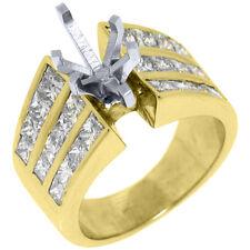3.20 CARAT WOMENS DIAMOND ENGAGEMENT RING SEMI-MOUNT PRINCESS CUT YELLOW GOLD