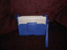 """Melie Bianco """"Mila"""" 5"""" Crossbody Blue & Tan Wallet"""