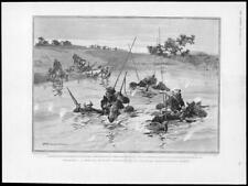 1904 Antique Print - RUSSO-JAPANESE WAR Cossack Outpost Water Horses Bayonet(82)