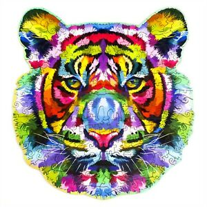 Rainbow-tiger Wooden Puzzle Unique Shape Pieces Animal Gift for Adults and Kids