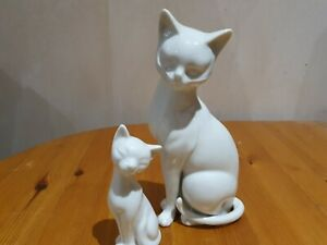 "John Jenkins Large ""White Cat"" plus smaller unmarked cat"
