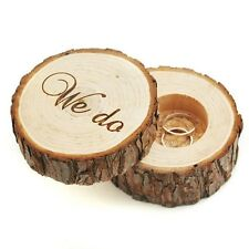 """WE DO"" Box Rings Jewelry Storage Display Wedding Organize Ring Wooden Case New"