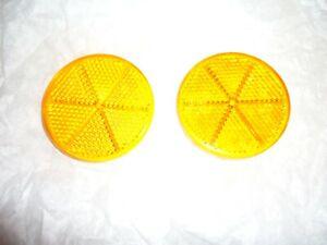 2x Hella E13 DOT Reflektoren orange TÜV E-Prüfzeichen rund 023535 6cm 60mm