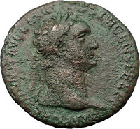 Domitian 87AD Large Ancient Roman Coin Fortuna Luck Wealth symbol i31402