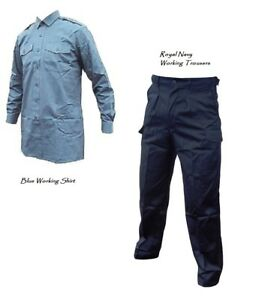 Royal Navy Working TROUSERS + Blue Working SHIRT - British Army - Grade 1