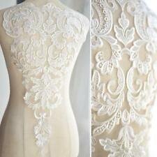 French Lace Fabrics Embroidered Applique Ivory White Dress Handmade Accessories