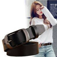Vintage Classic Luxury Women Black Gold Buckle Belt Genuine Leather Waistband
