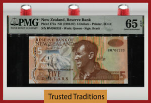 TT PK 177a 1992 NEW ZEALAND 5 DOLLARS MOUNT EVEREST PMG 65 EPQ GEM UNCIRCULATED!