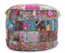 Indian Embroidered Patchwork Bohemian Pouffe Living Room Footstool Pouf Ottoman