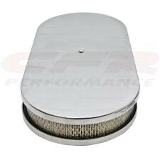 "ALUMINUM 19"" OVAL DUAL QUAD AIR CLEANER PAPER FILTER SMOOTH - POLISHED"