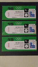 1980 Lake Placid Winter Olympic Bobsledding Ticket Stubs