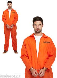 Mens Prisoner Orange Boiler Suit Fancy Dress Costume with Handcuffs Convict Over