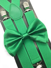 Green Suspender + Clip on Bow-Tie Matching Set for Adults Men Women
