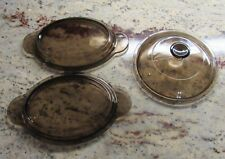 Lot of 3 Pyrex Lids  Vintage Amber / Smoked Brown Color P-14-C & V1C